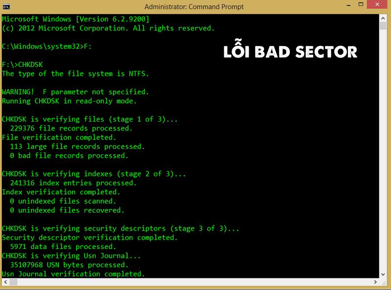 "Lỗi ""Bad sector"" xuất hiện"